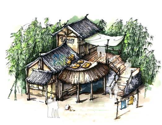 楚酒文化体验园手绘效果图